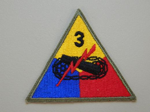 3rd Armored Div. Color Patch - No Tab WW2