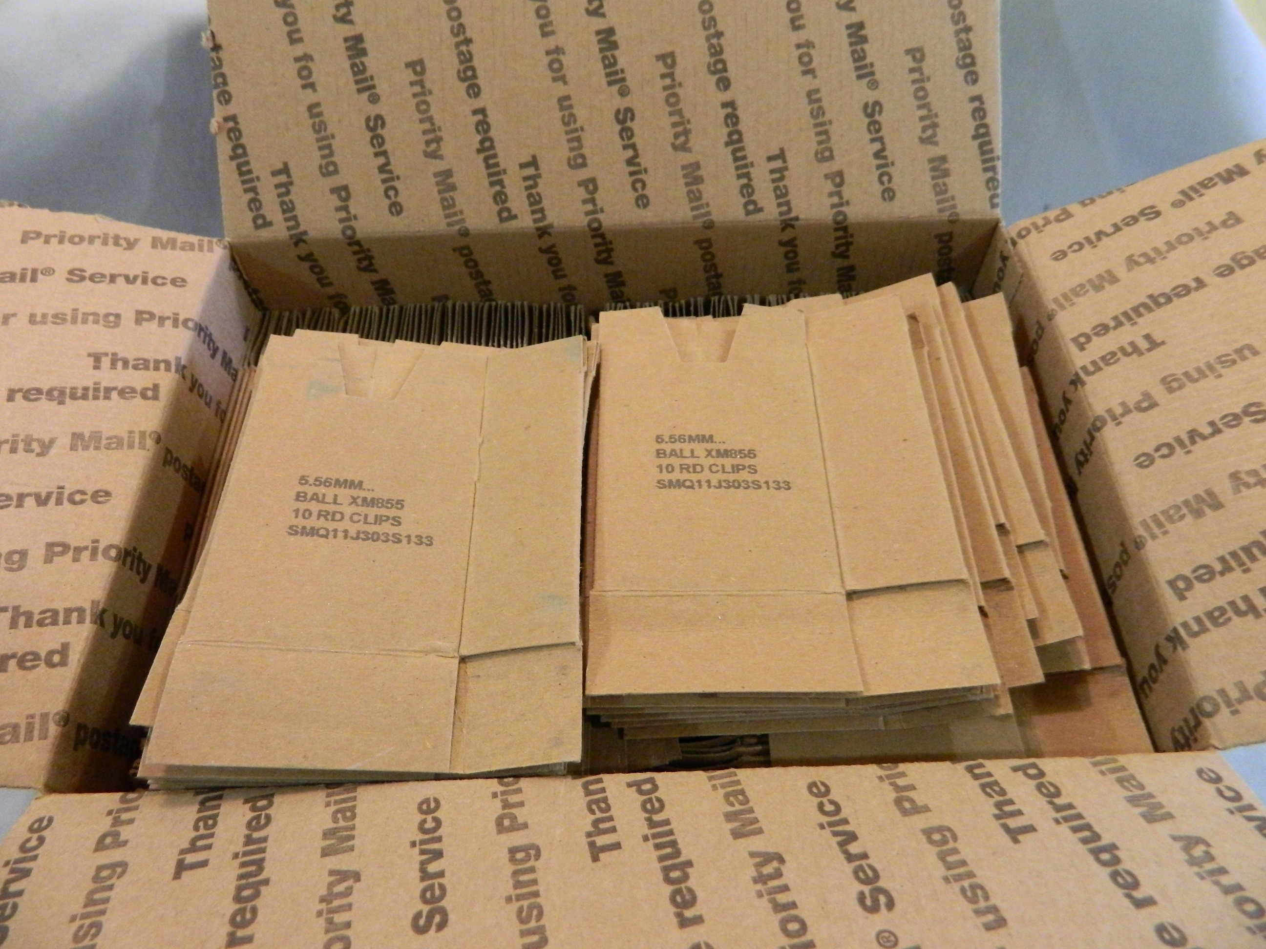 M16/AR15 .223 - 4 Pocket Cardboards- 200 Ct. Used