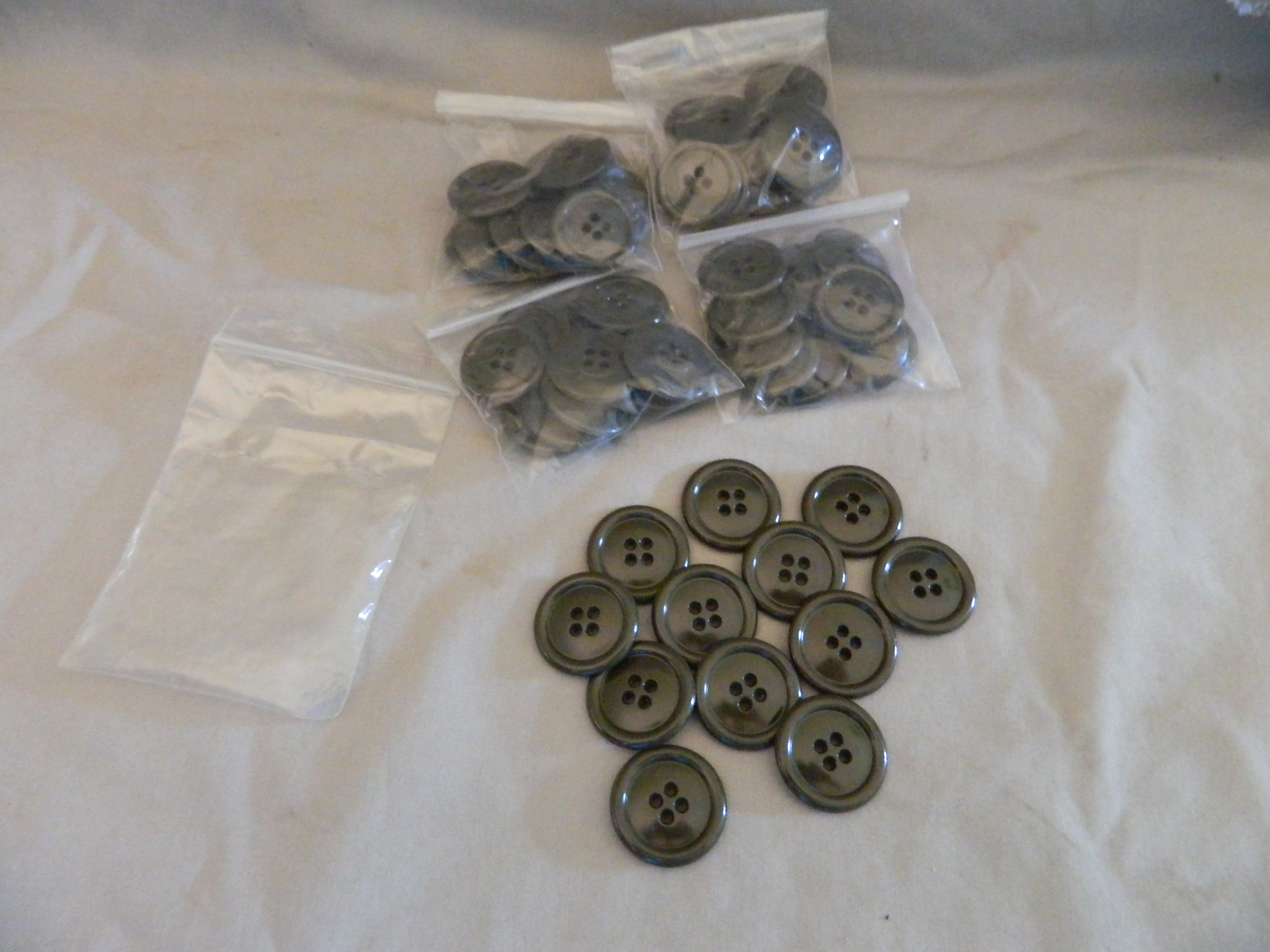 "USGI 1"" Overcoat Buttons- OD - 5 Pkgs. of 12"