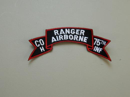 H Co.75th Inf. Ranger Airborne Scroll- Color Patch