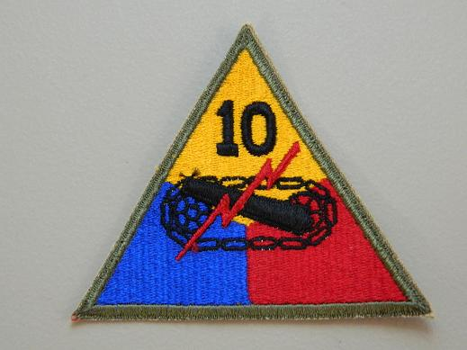 10th Armored Division Color Patch NO TAB- WW2